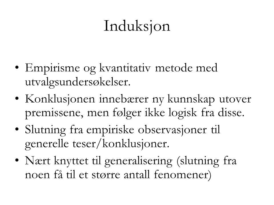 Induksjon Empirisme og kvantitativ metode med utvalgsundersøkelser.