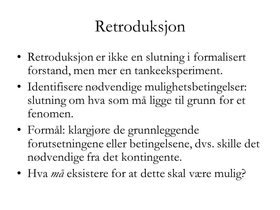 Retroduksjon Retroduksjon er ikke en slutning i formalisert forstand, men mer en tankeeksperiment.
