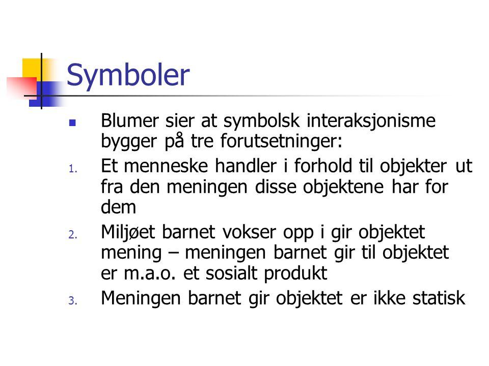 Symboler Blumer sier at symbolsk interaksjonisme bygger på tre forutsetninger: