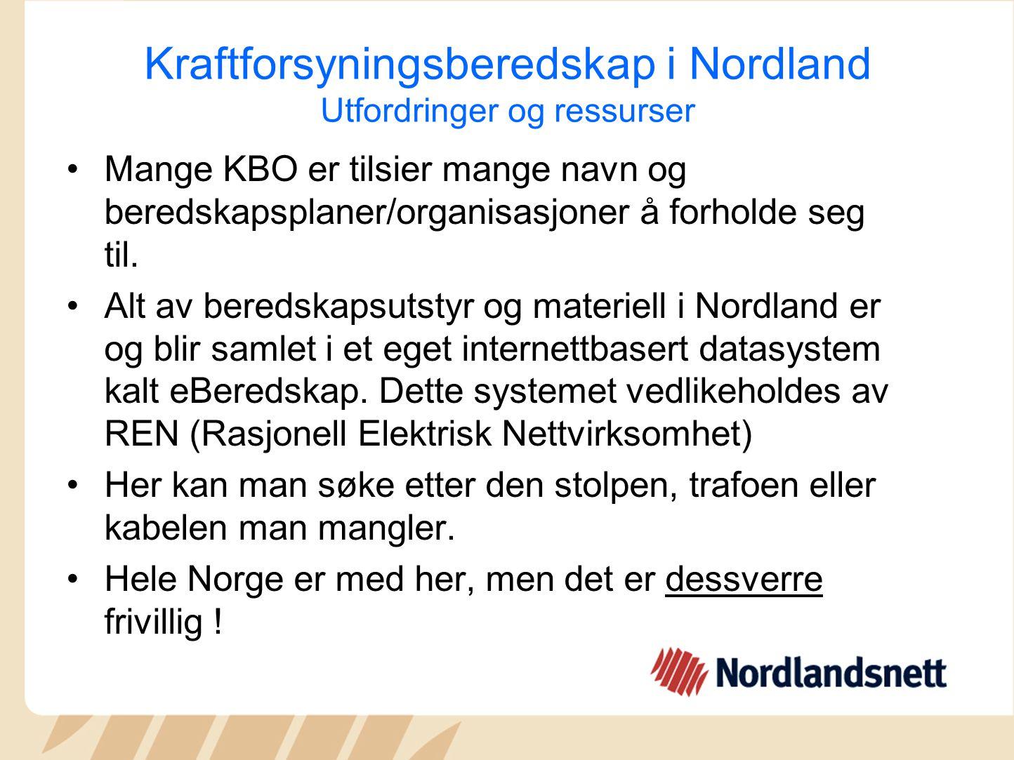 Kraftforsyningsberedskap i Nordland Utfordringer og ressurser