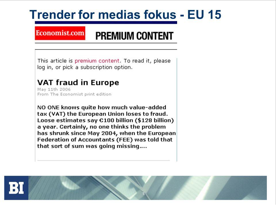 Trender for medias fokus - EU 15