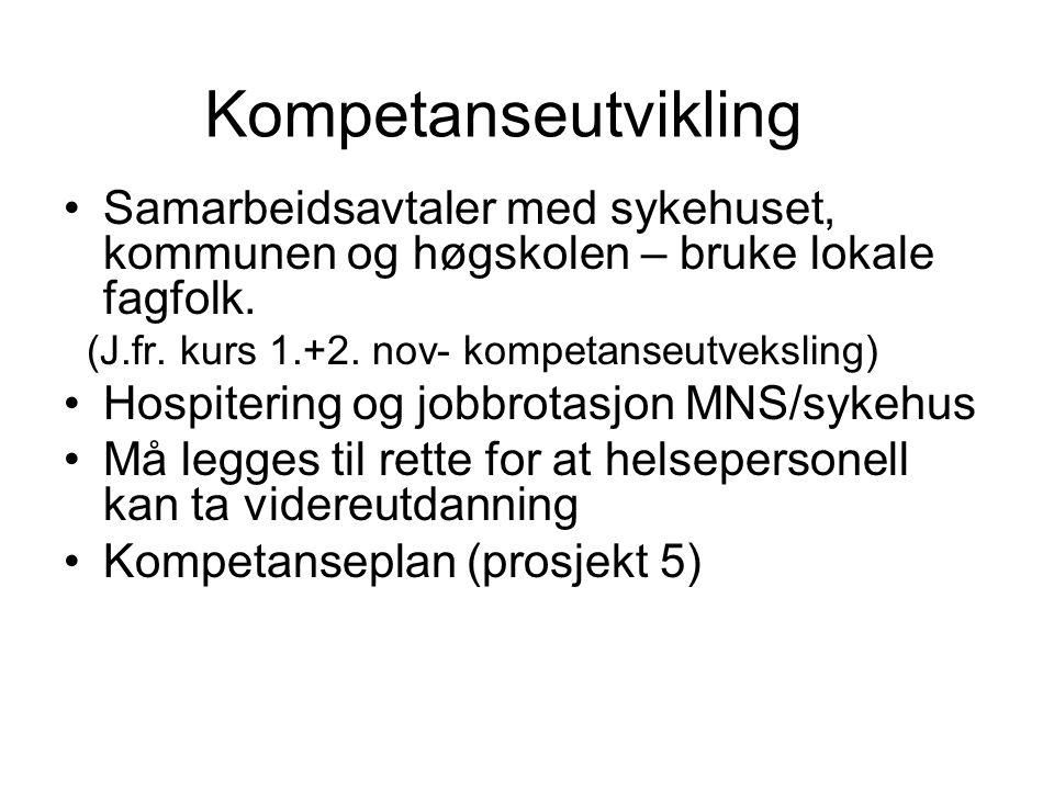 Kompetanseutvikling Samarbeidsavtaler med sykehuset, kommunen og høgskolen – bruke lokale fagfolk. (J.fr. kurs 1.+2. nov- kompetanseutveksling)