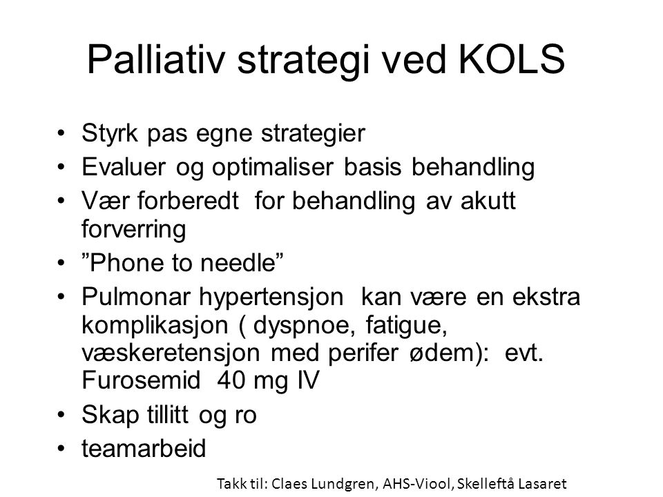 Palliativ strategi ved KOLS