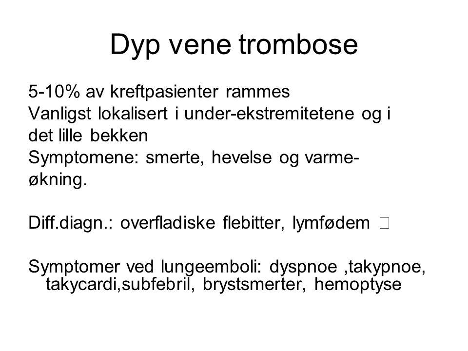 Dyp vene trombose 5-10% av kreftpasienter rammes