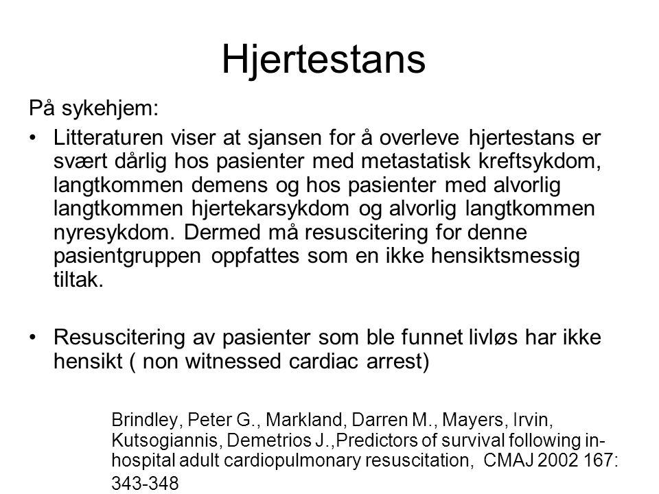Hjertestans På sykehjem: