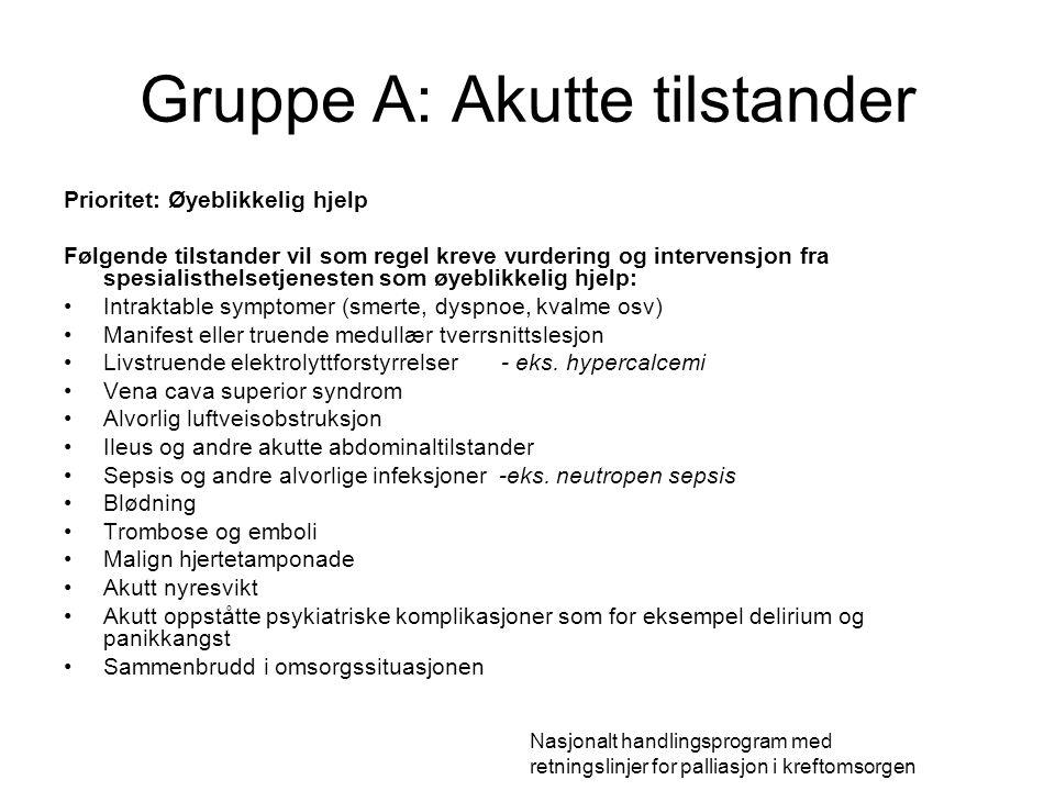 Gruppe A: Akutte tilstander