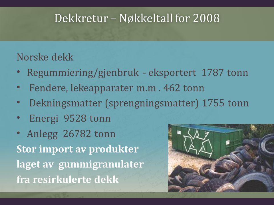 Dekkretur – Nøkkeltall for 2008