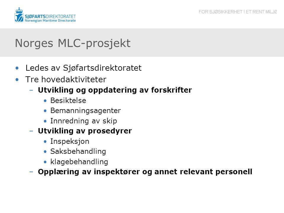 Norges MLC-prosjekt Ledes av Sjøfartsdirektoratet Tre hovedaktiviteter