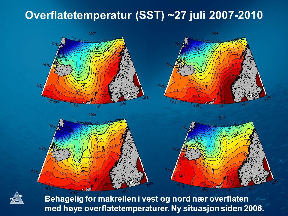 Overflatetemperatur (SST) ~27 juli 2007-2010