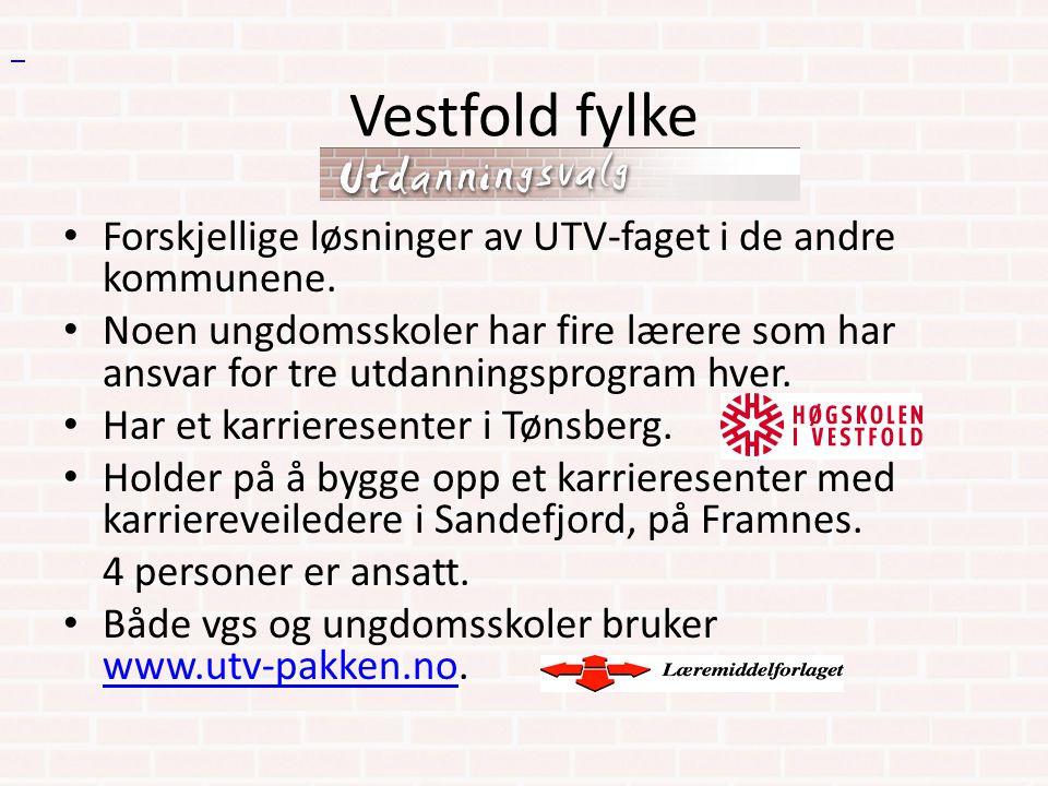 Vestfold fylke. Forskjellige løsninger av UTV-faget i de andre kommunene.