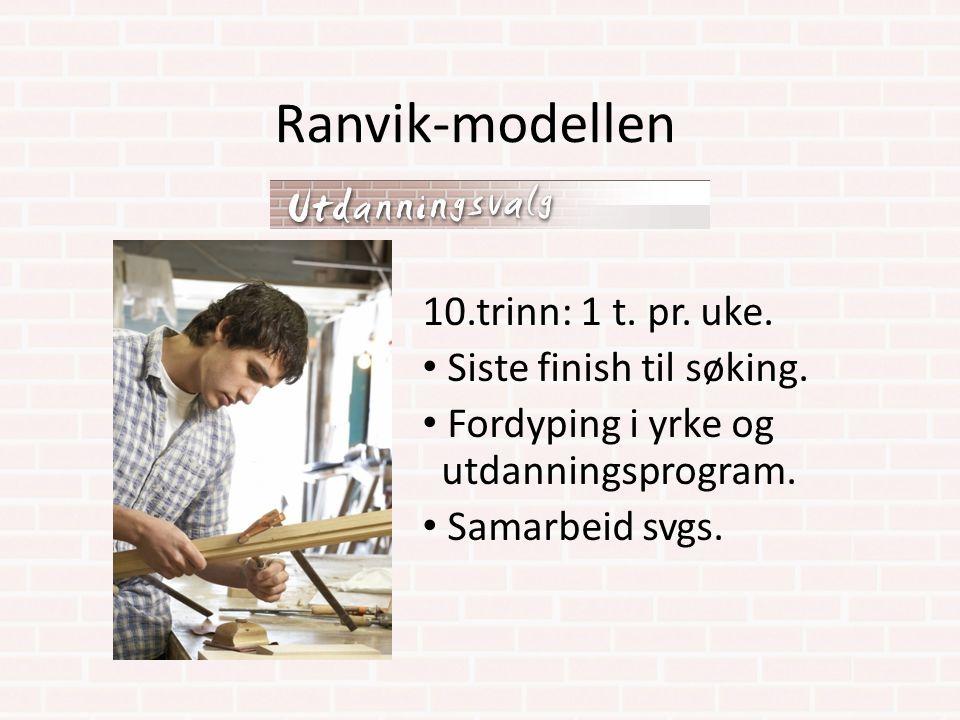 Ranvik-modellen 10.trinn: 1 t. pr. uke. Siste finish til søking.