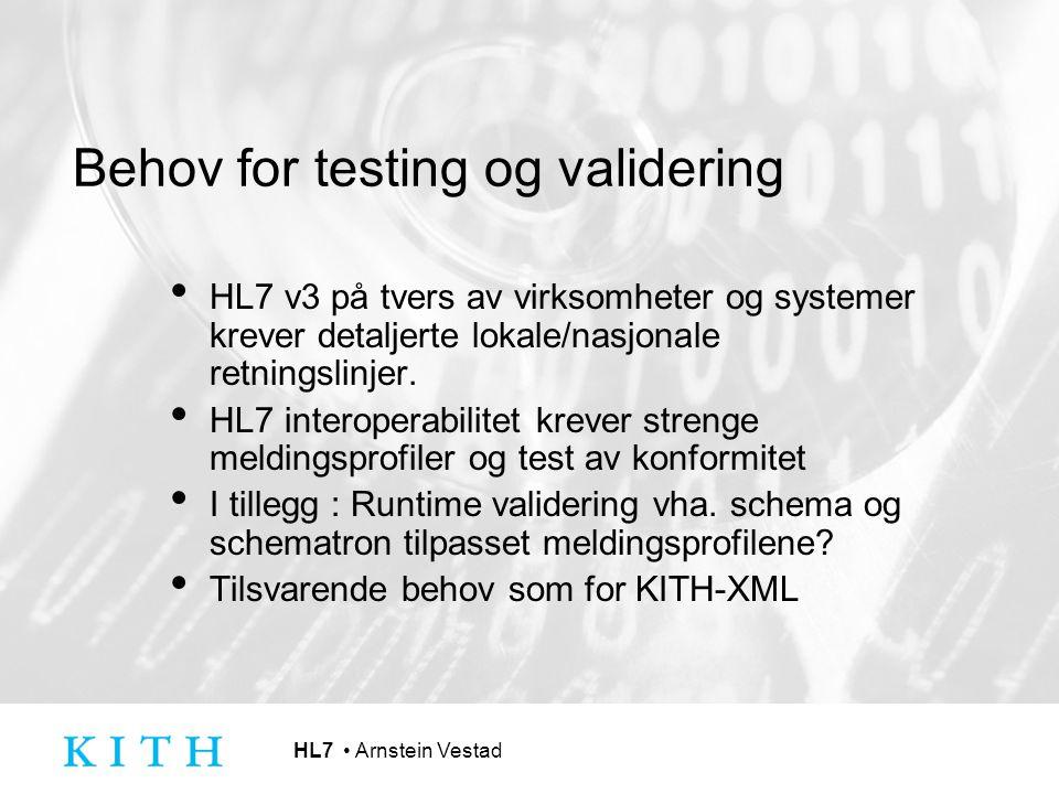 Behov for testing og validering