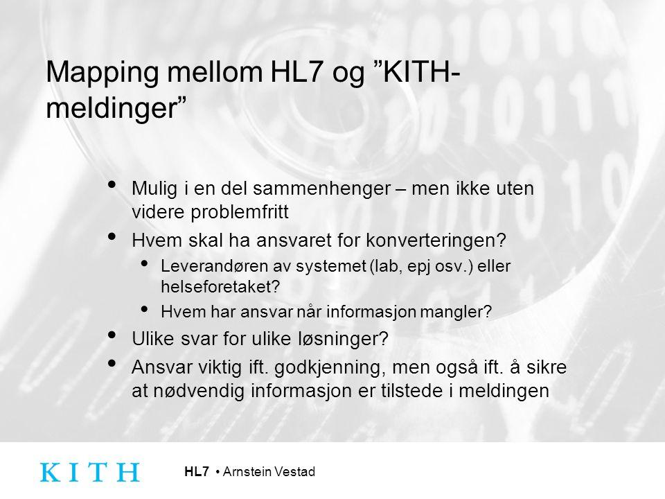 Mapping mellom HL7 og KITH-meldinger