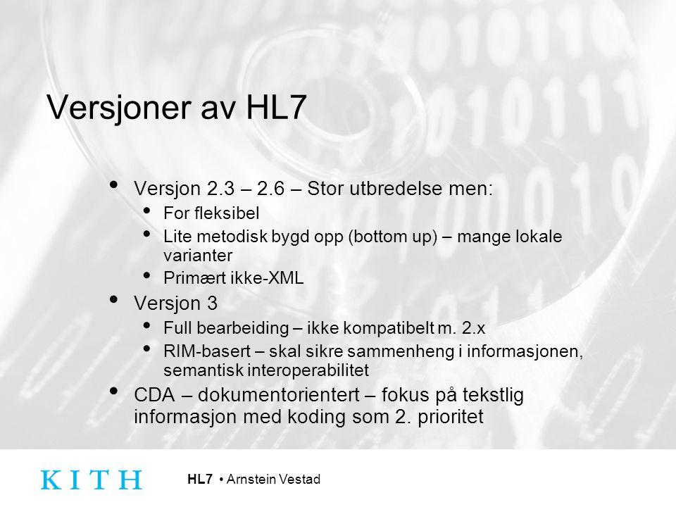 Versjoner av HL7 Versjon 2.3 – 2.6 – Stor utbredelse men: Versjon 3