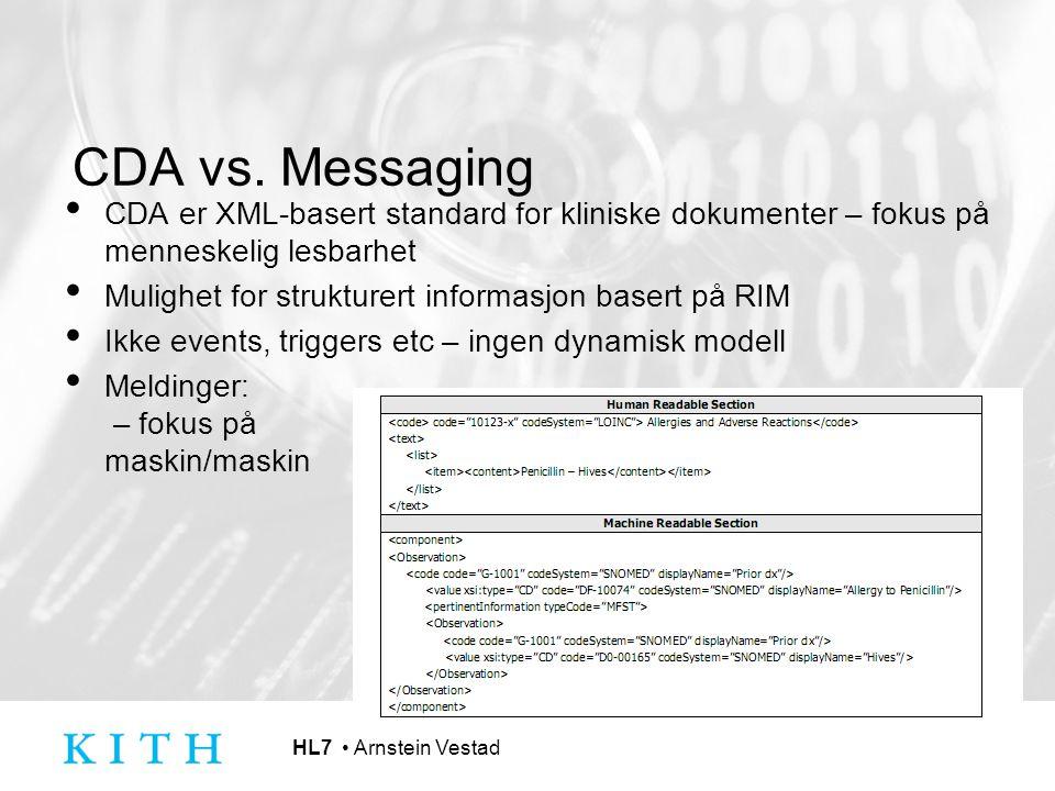 CDA vs. Messaging CDA er XML-basert standard for kliniske dokumenter – fokus på menneskelig lesbarhet.