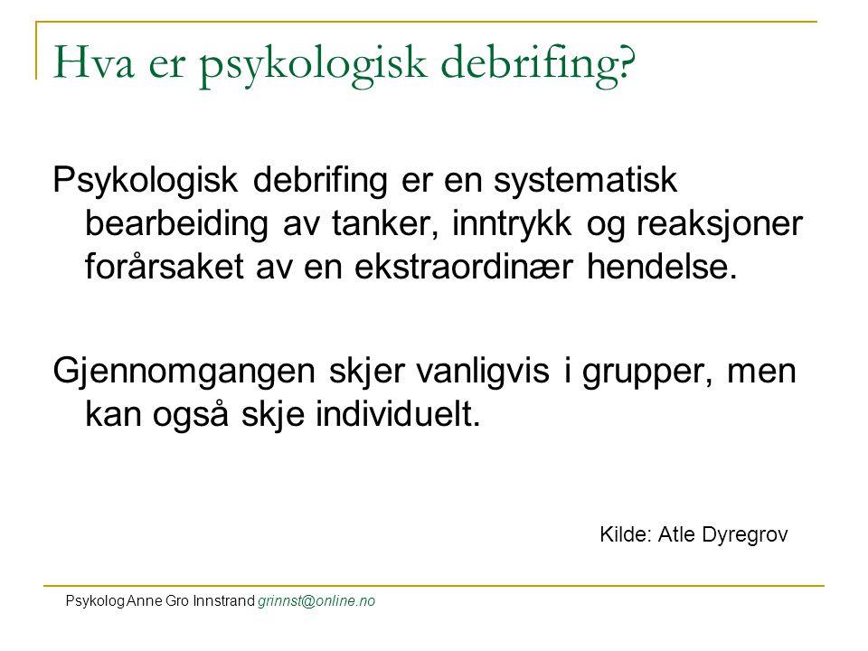 Hva er psykologisk debrifing