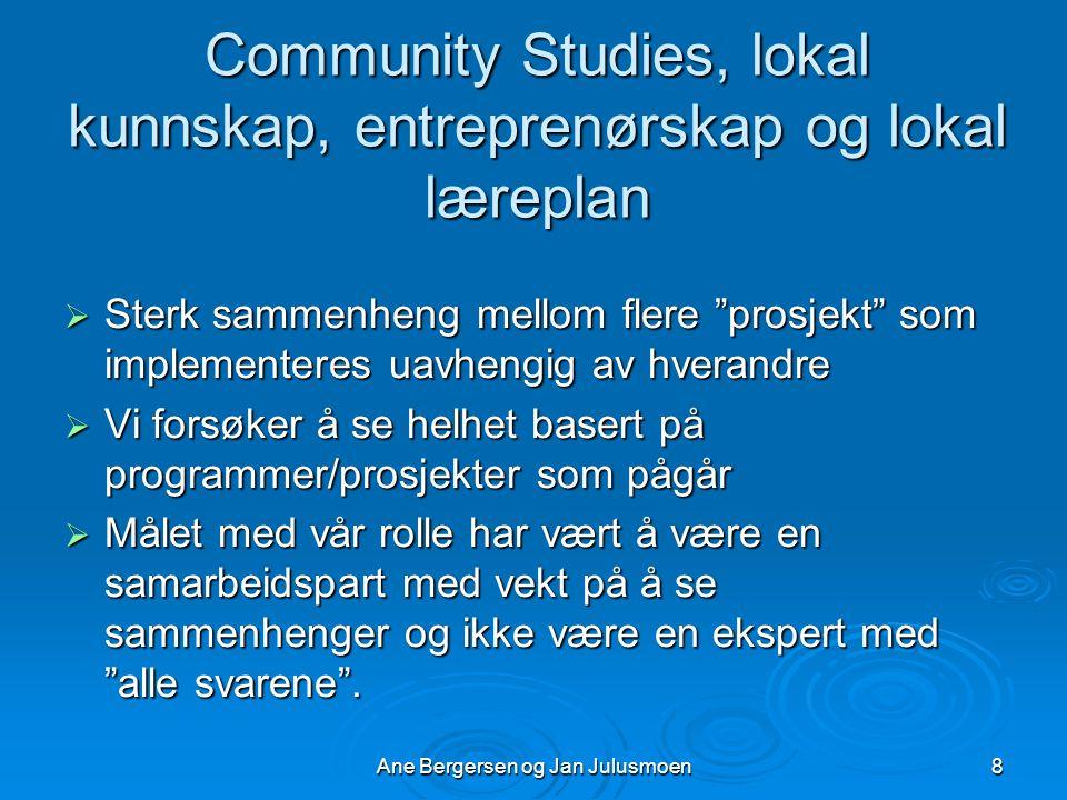 Community Studies, lokal kunnskap, entreprenørskap og lokal læreplan