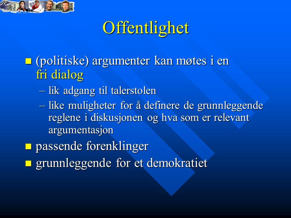 Offentlighet (politiske) argumenter kan møtes i en fri dialog