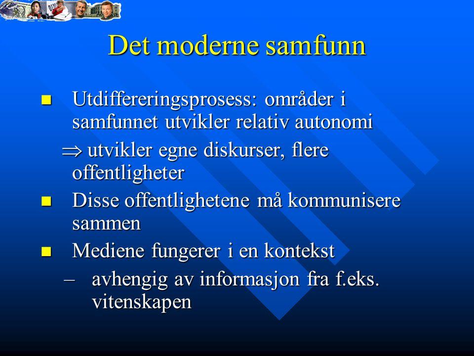 Det moderne samfunn Utdiffereringsprosess: områder i samfunnet utvikler relativ autonomi.  utvikler egne diskurser, flere offentligheter.