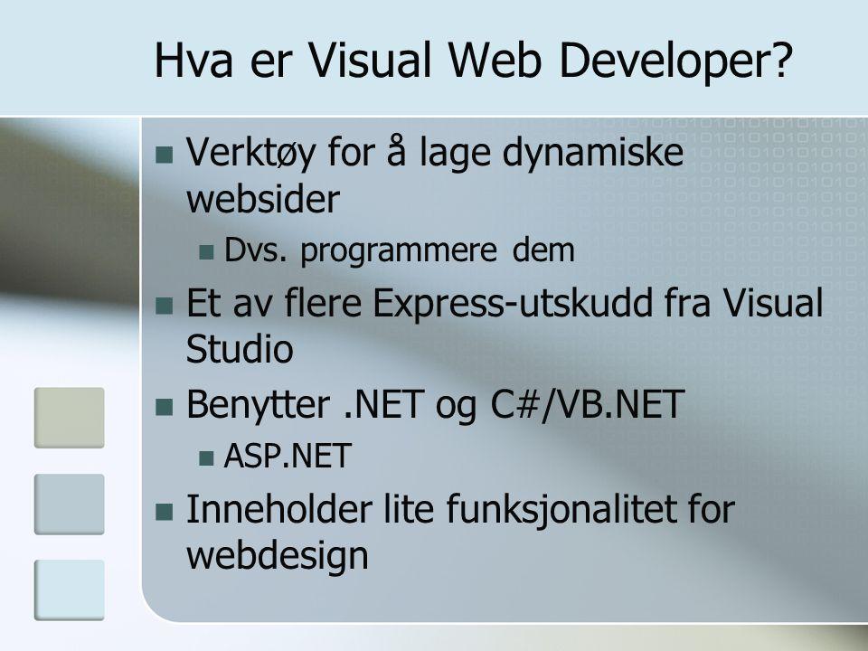 Hva er Visual Web Developer