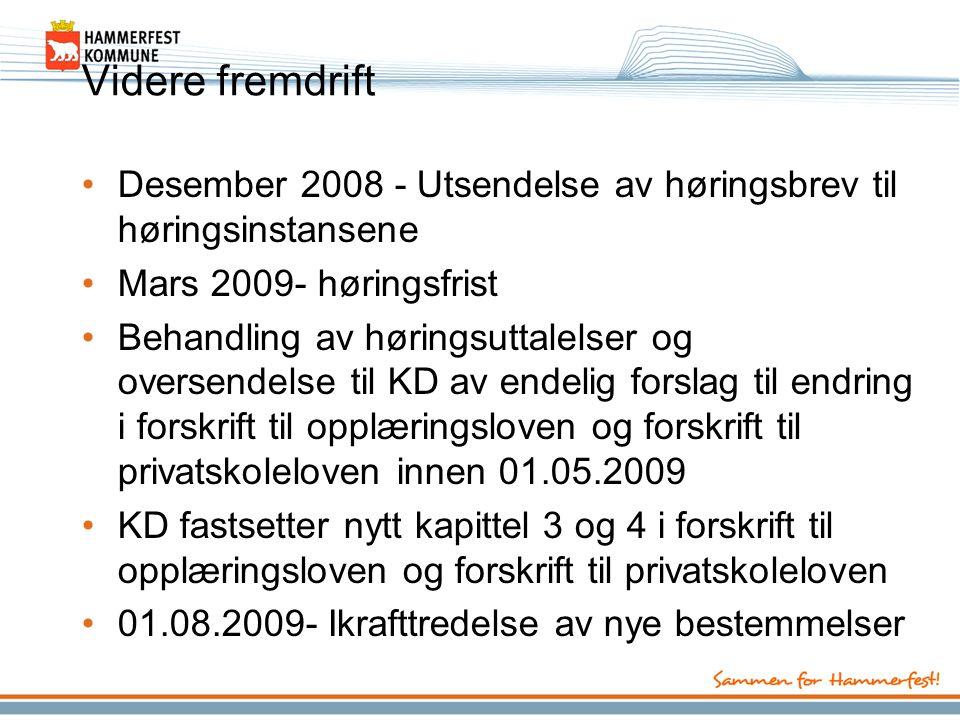 Videre fremdrift Desember 2008 - Utsendelse av høringsbrev til høringsinstansene. Mars 2009- høringsfrist.