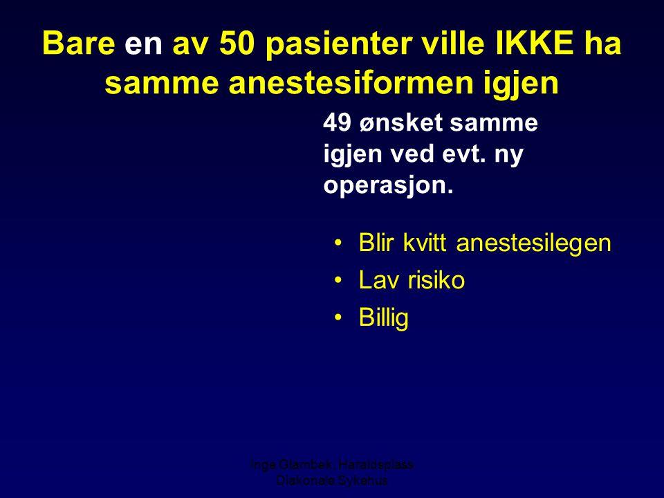 Bare en av 50 pasienter ville IKKE ha samme anestesiformen igjen