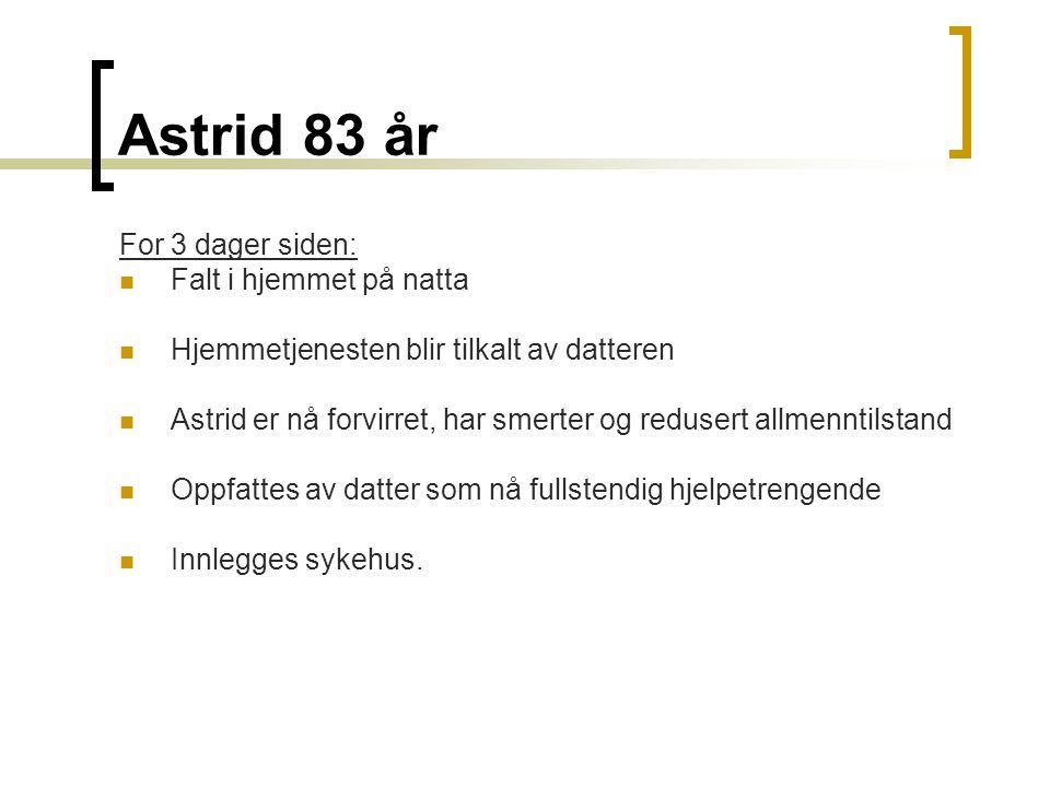 Astrid 83 år For 3 dager siden: Falt i hjemmet på natta