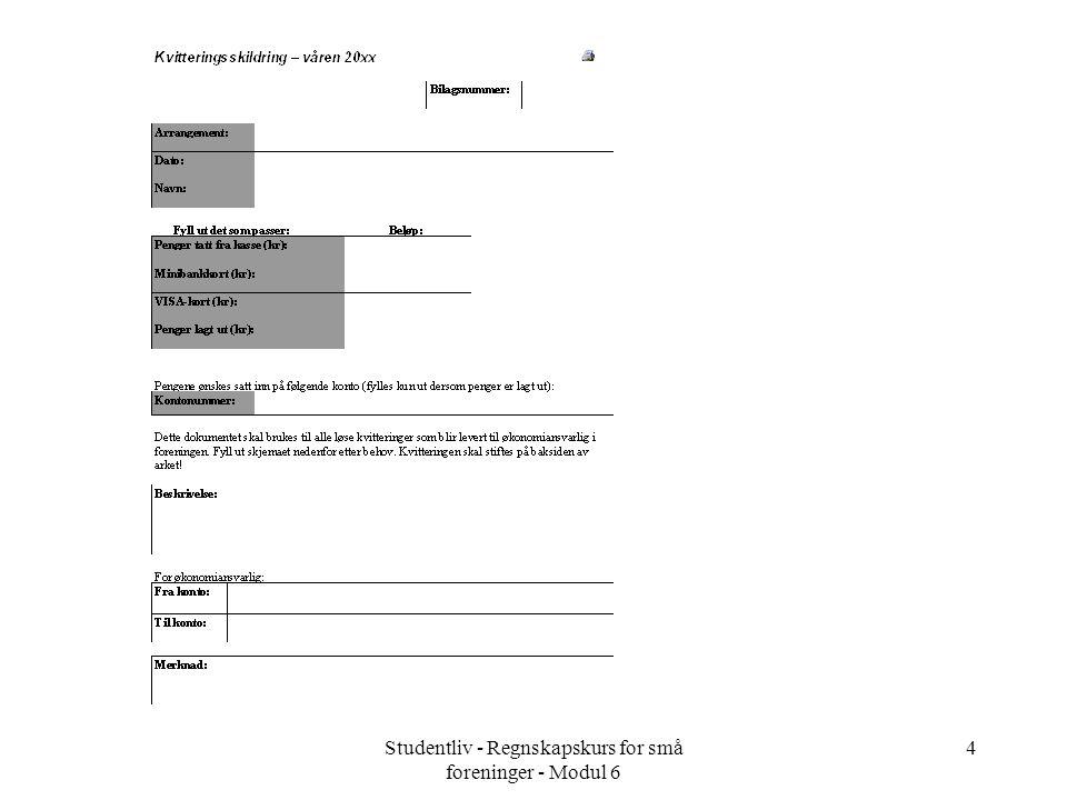 Studentliv - Regnskapskurs for små foreninger - Modul 6