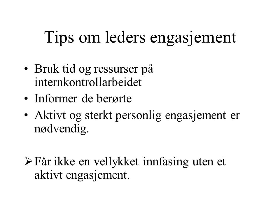Tips om leders engasjement
