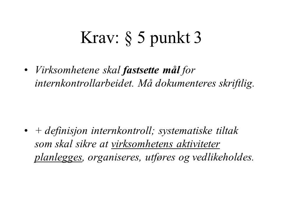 Krav: § 5 punkt 3 Virksomhetene skal fastsette mål for internkontrollarbeidet. Må dokumenteres skriftlig.