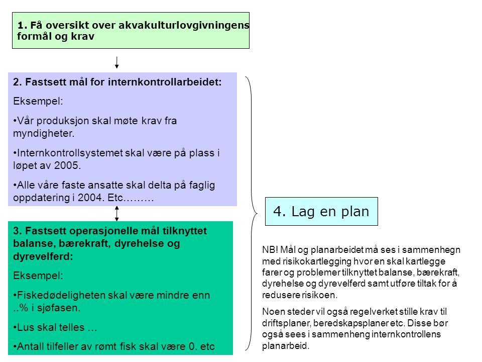 4. Lag en plan 2. Fastsett mål for internkontrollarbeidet: Eksempel: