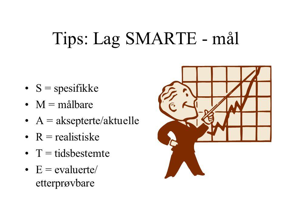 Tips: Lag SMARTE - mål S = spesifikke M = målbare