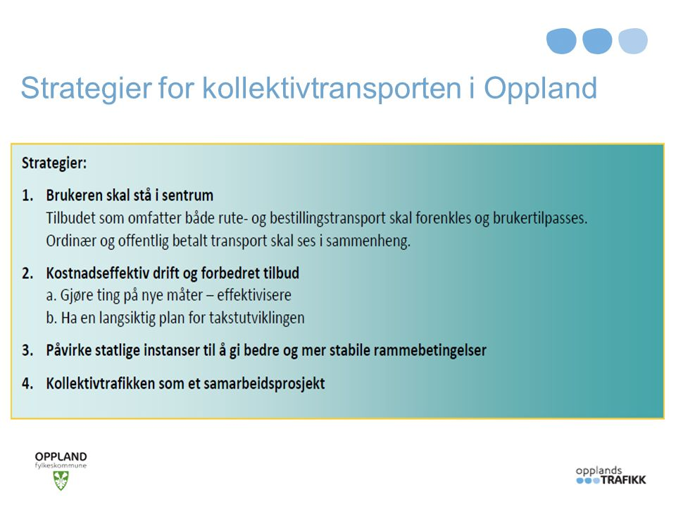 Strategier for kollektivtransporten i Oppland