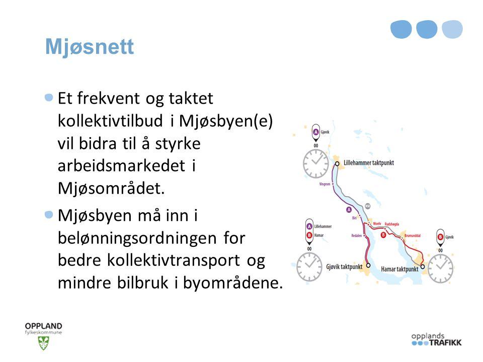 Mjøsnett Et frekvent og taktet kollektivtilbud i Mjøsbyen(e) vil bidra til å styrke arbeidsmarkedet i Mjøsområdet.
