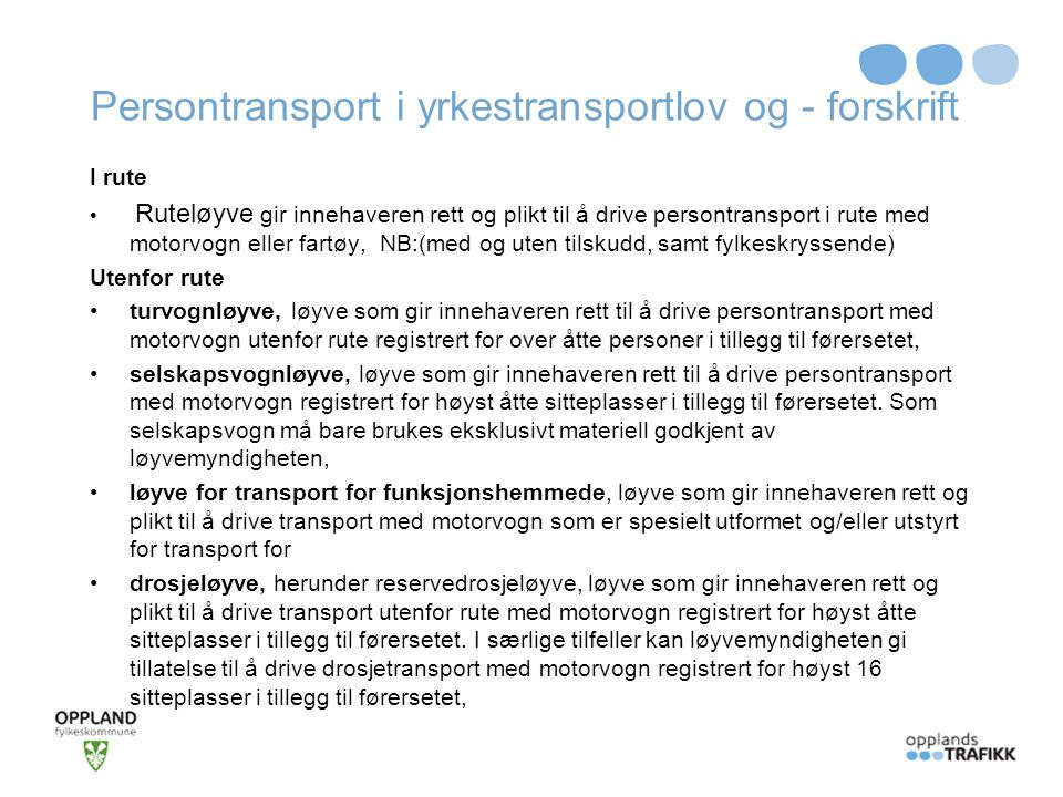 Persontransport i yrkestransportlov og - forskrift