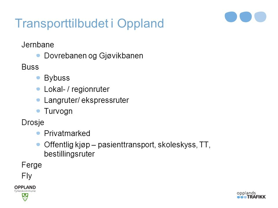 Transporttilbudet i Oppland