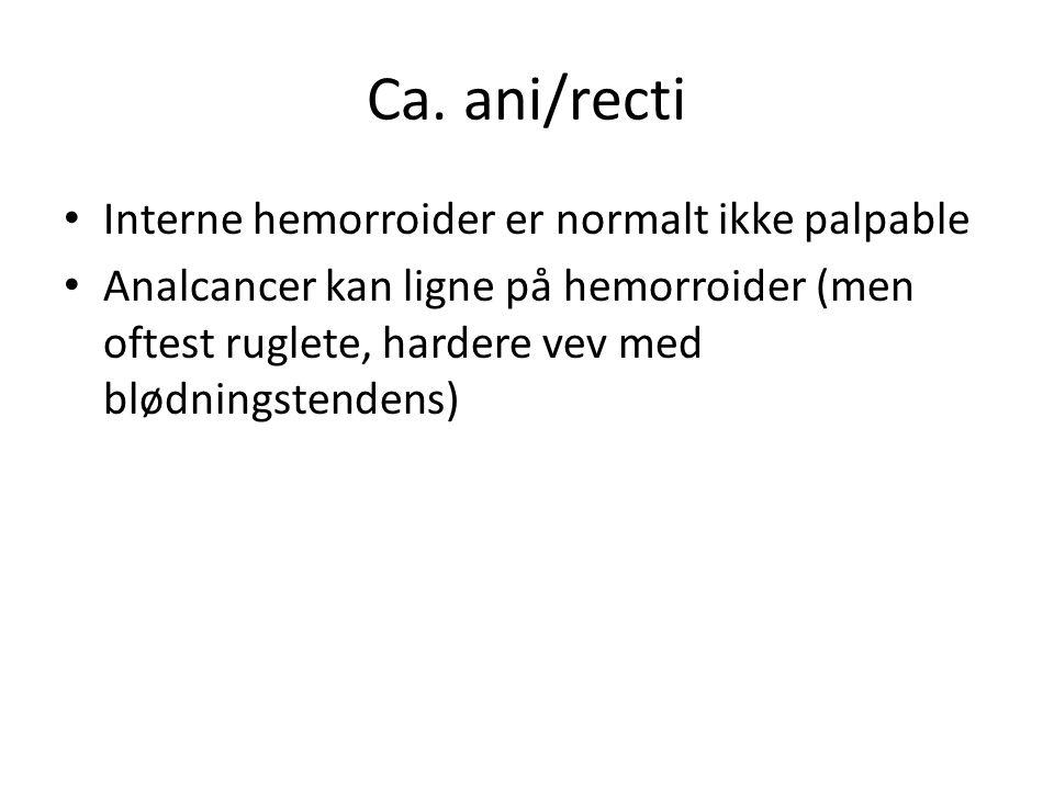 Ca. ani/recti Interne hemorroider er normalt ikke palpable