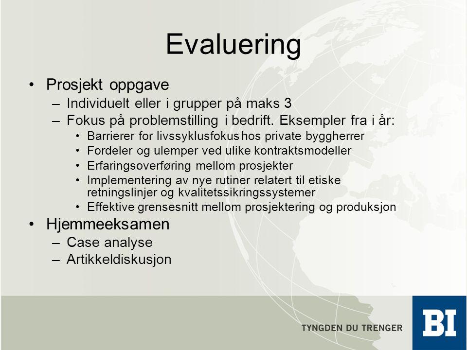 Evaluering Prosjekt oppgave Hjemmeeksamen