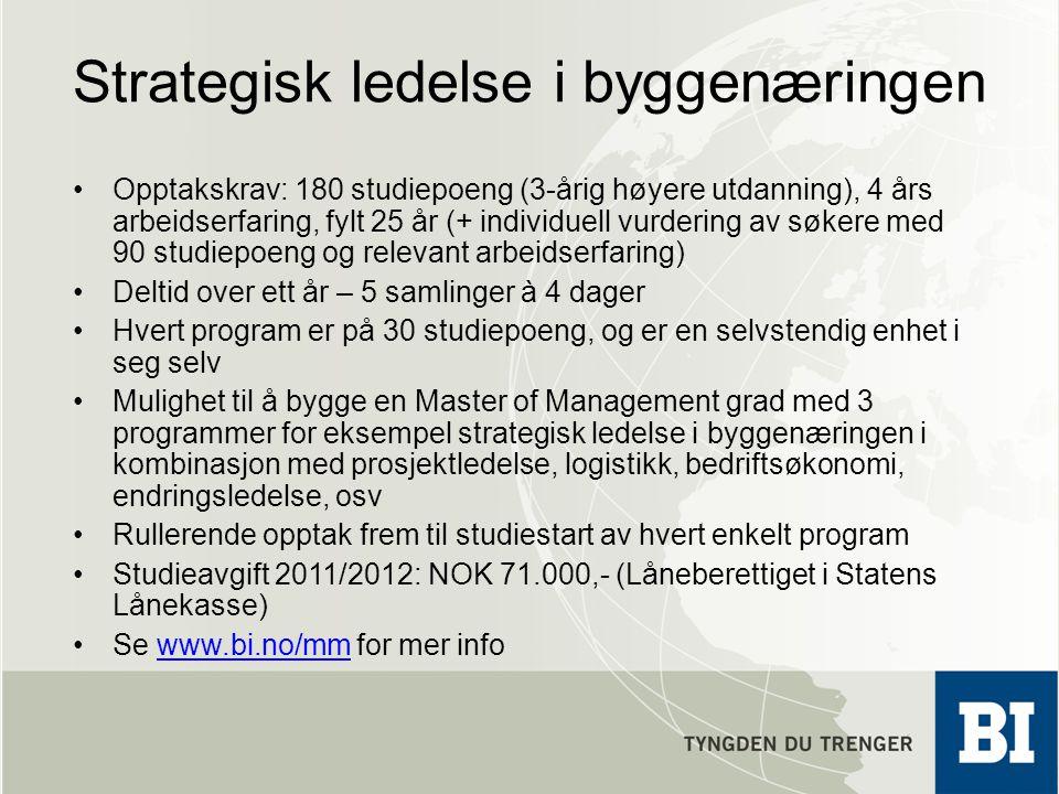 Strategisk ledelse i byggenæringen