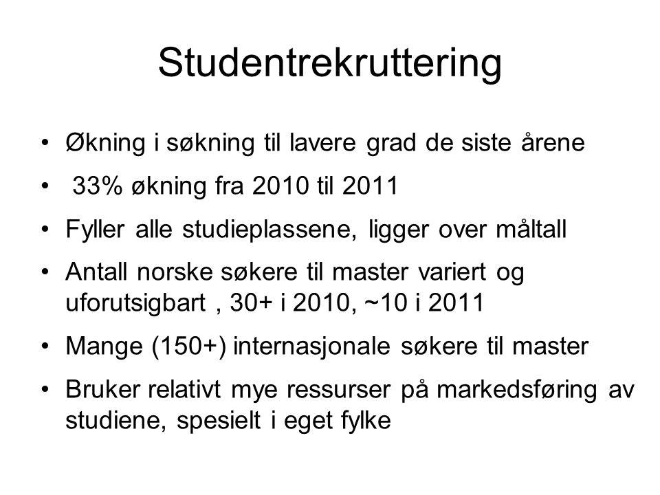 Studentrekruttering Økning i søkning til lavere grad de siste årene