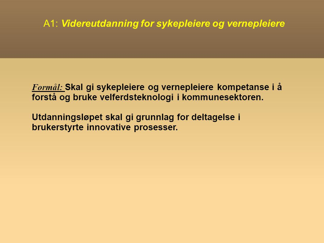 A1: Videreutdanning for sykepleiere og vernepleiere