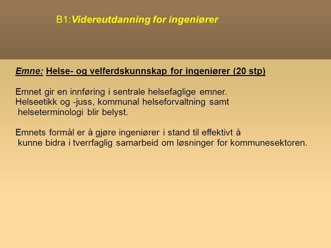 B1:Videreutdanning for ingeniører