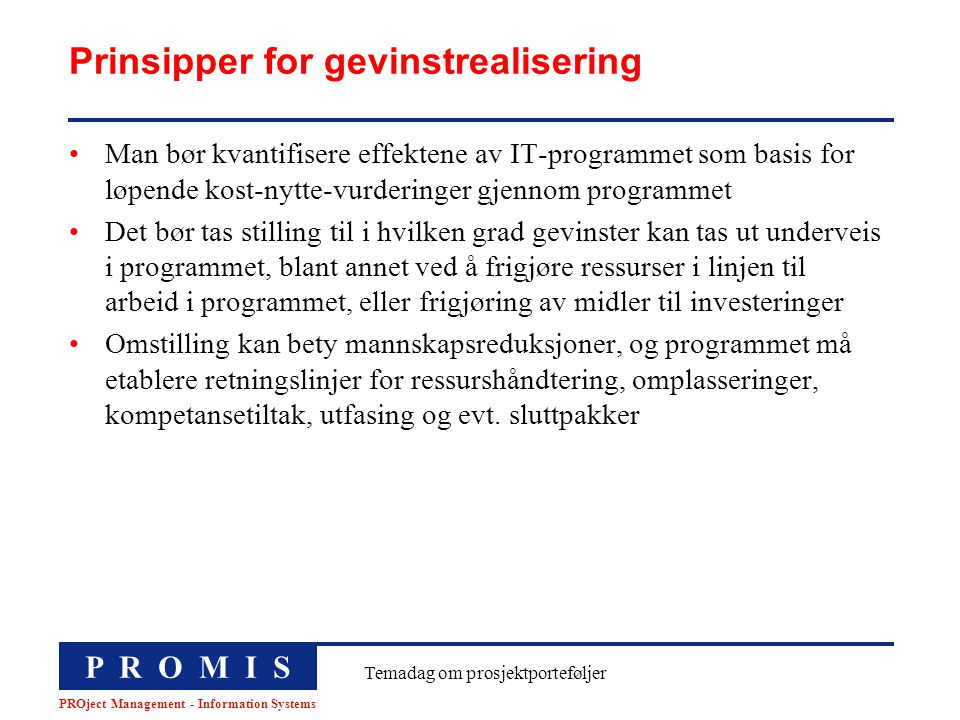 Prinsipper for gevinstrealisering