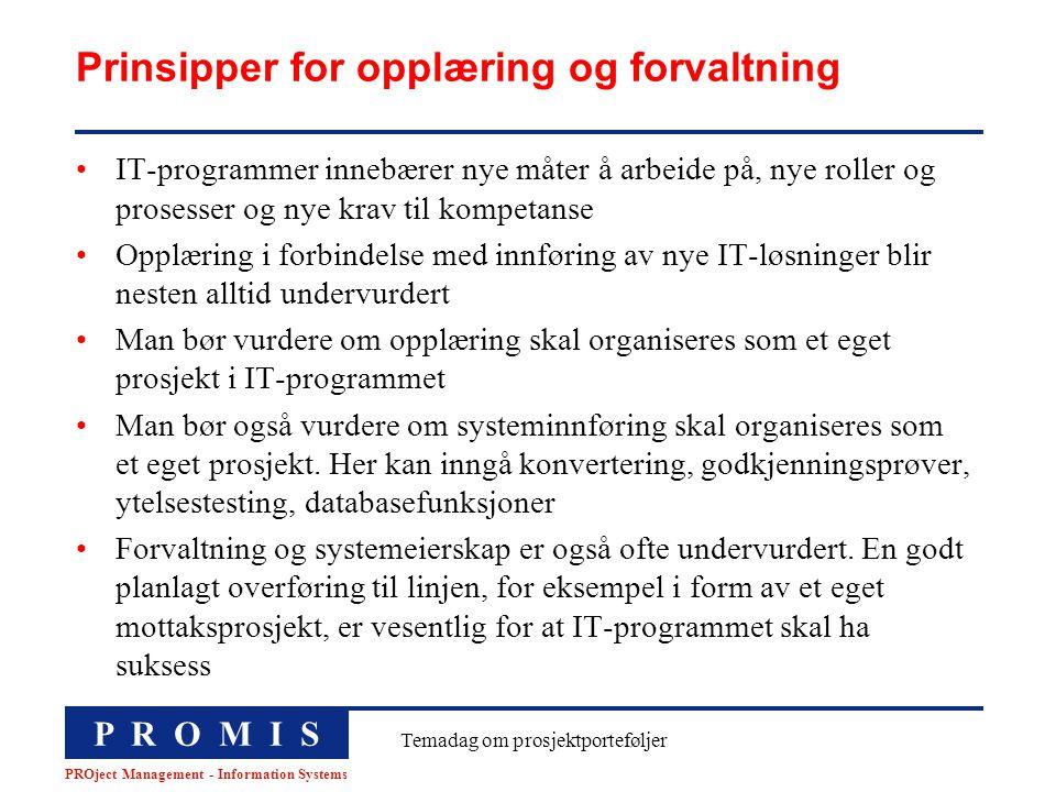 Prinsipper for opplæring og forvaltning