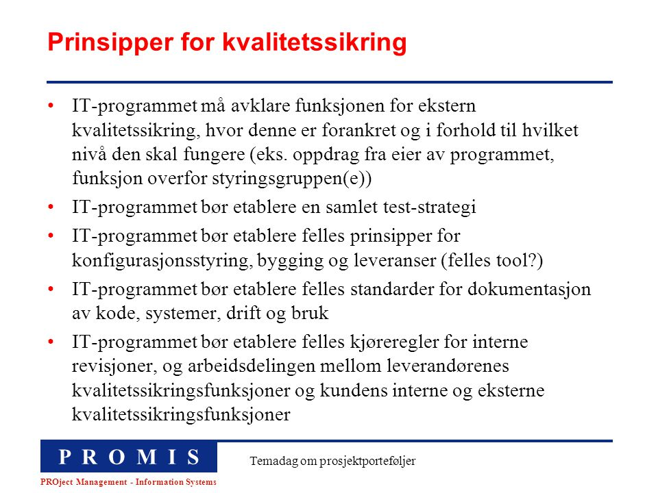 Prinsipper for kvalitetssikring