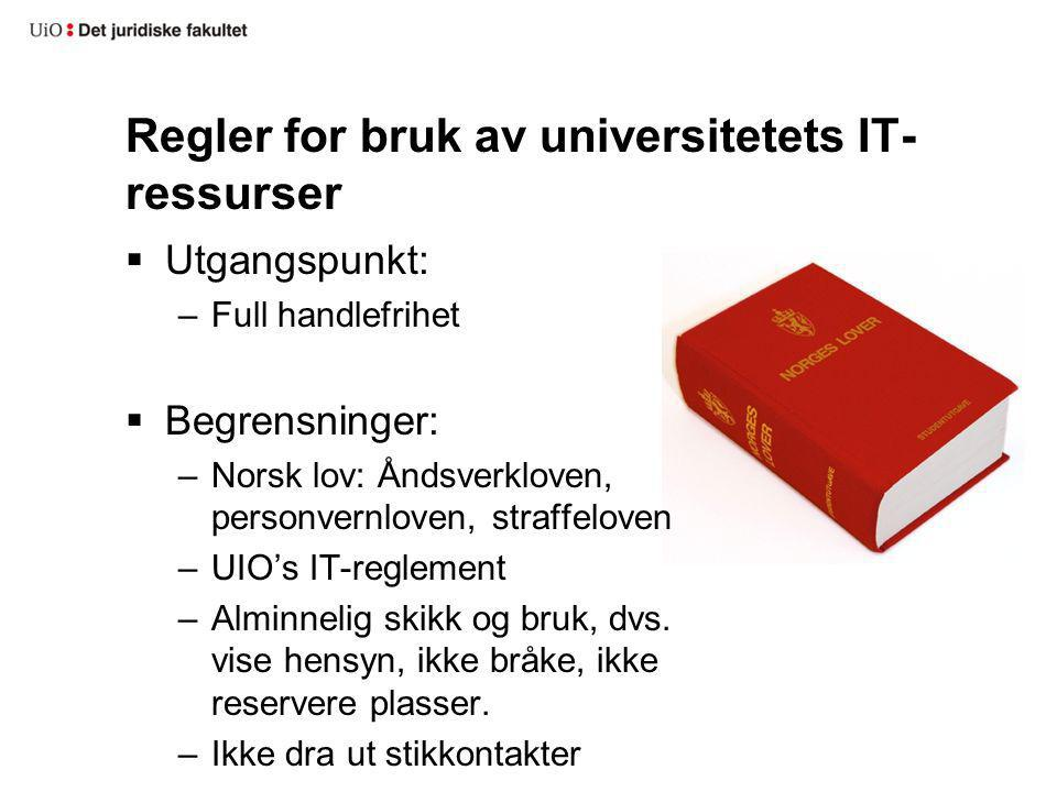 Regler for bruk av universitetets IT-ressurser