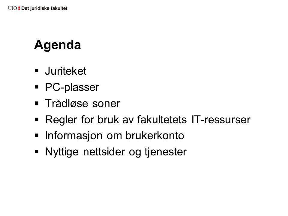 Agenda Juriteket PC-plasser Trådløse soner