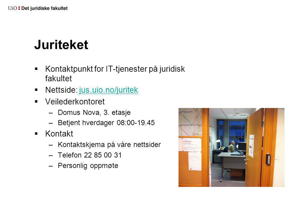 Juriteket Kontaktpunkt for IT-tjenester på juridisk fakultet