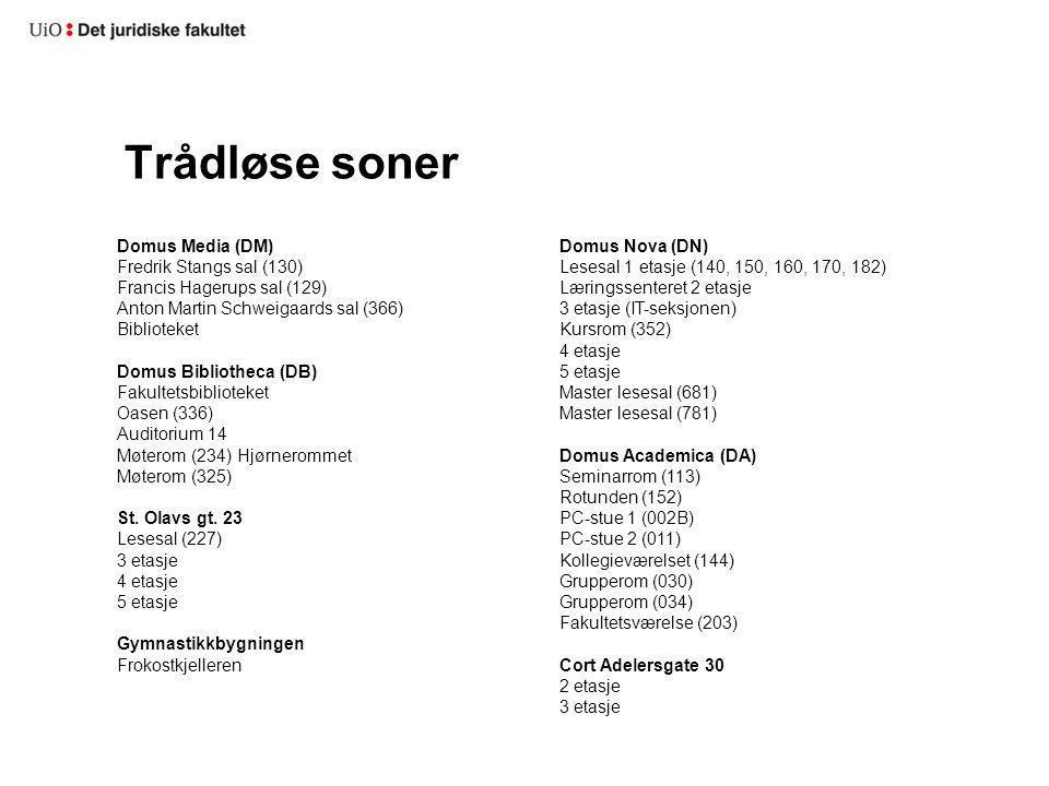 Trådløse soner Domus Media (DM) Fredrik Stangs sal (130)