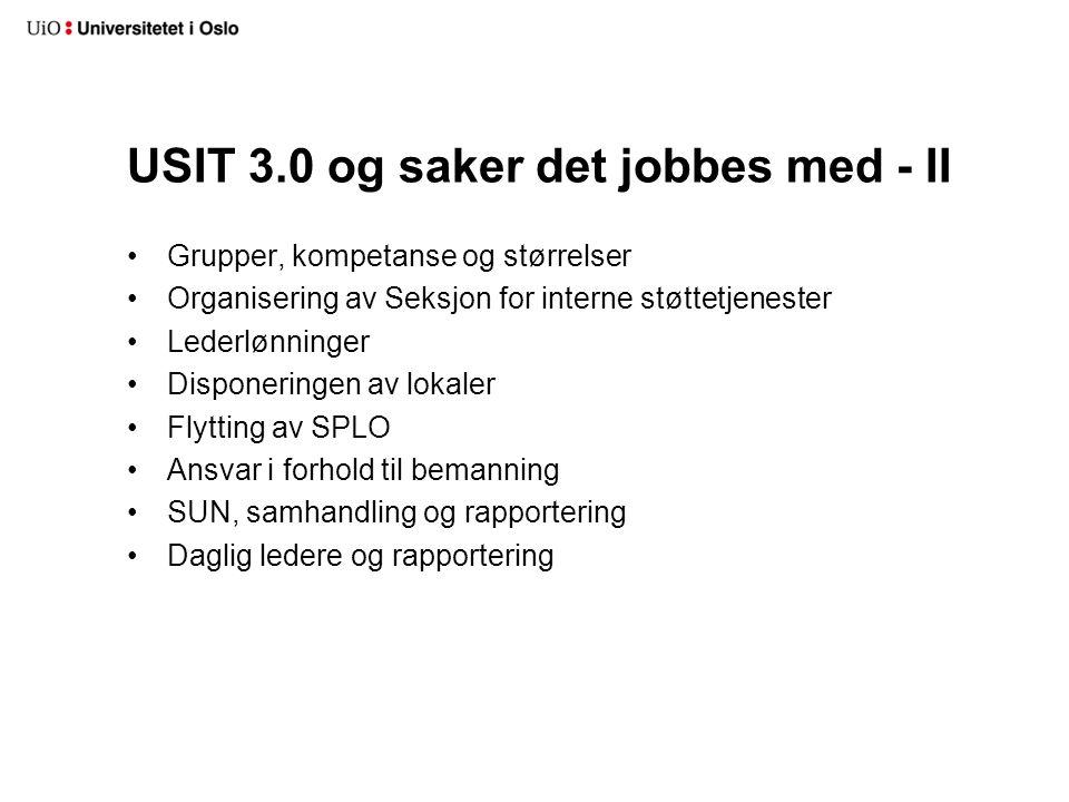 USIT 3.0 og saker det jobbes med - II